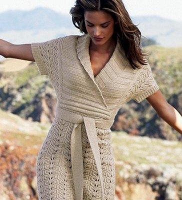Вязаные теплого платья крючком со схемами