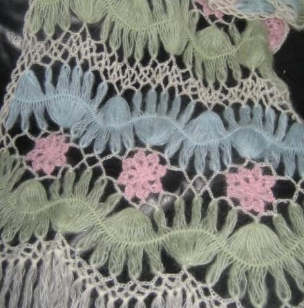 Вязание шали на вилке - его