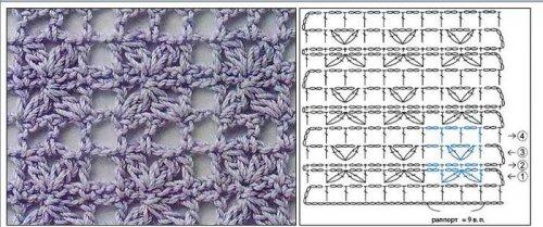 Простые узоры с накидами для вязания спицами схемы